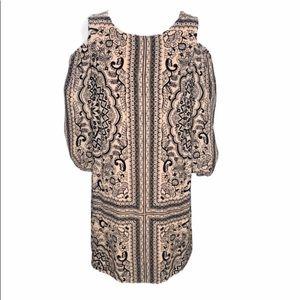 AWU Cold Shoulder Print Shift Dress 6 NWOT
